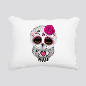 Pink Day of the Dead Sugar Skull Owl Rectangular C